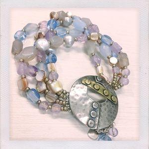 Sterling Silver & Blue Amethyst Stretch Bracelet